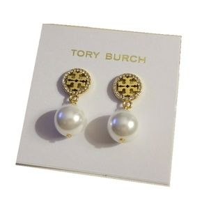 Tory Burch Logo Pearl Pave Crystal Gold Earrings
